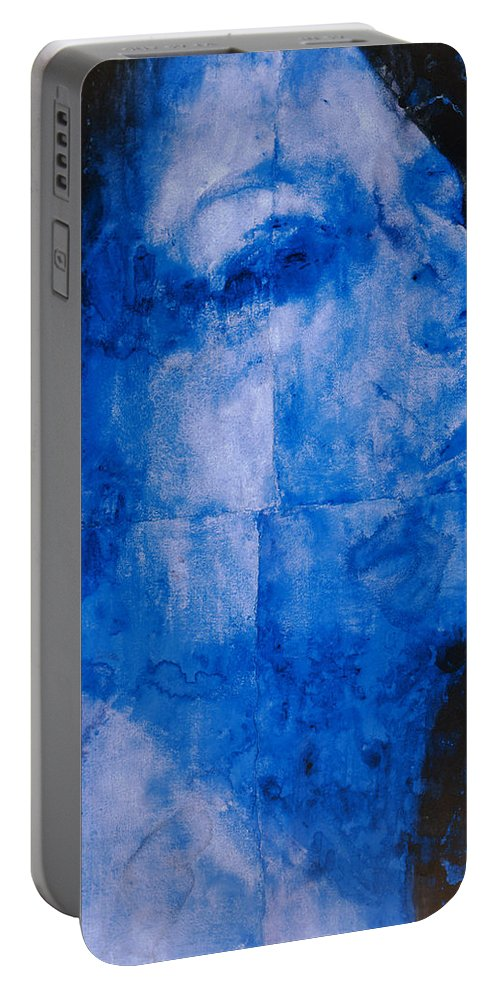 Blue Head Portable Battery Charger featuring the painting Blue Head by Graham Dean
