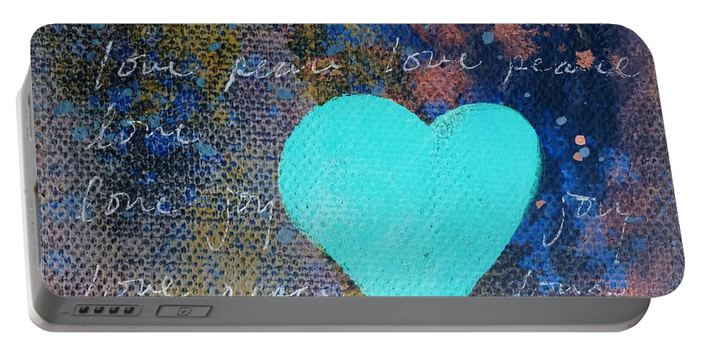 Blue Heart Portable Battery Charger featuring the painting Blue Heart by Robin Maria Pedrero
