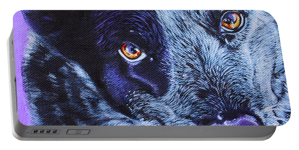 Blue Heeler Painting Portable Battery Charger featuring the painting Blue Heeler by Deborah Cullen