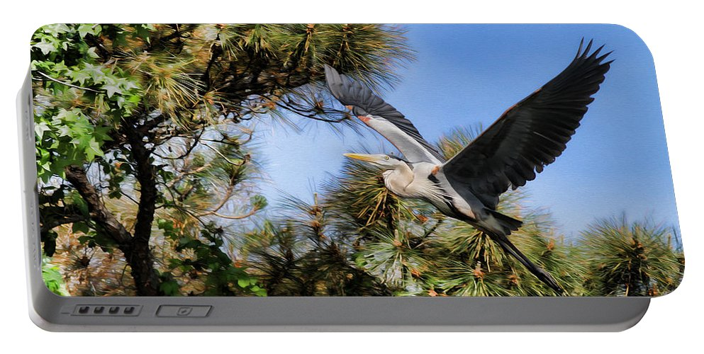 Blue Heron Portable Battery Charger featuring the photograph Blue Heron In The Trees Oil by Deborah Benoit