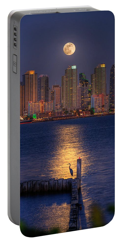 Moonlight Portable Battery Charger featuring the photograph Blue Heron Moon by Peter Tellone