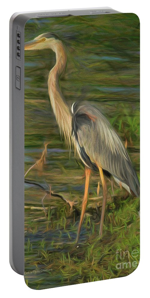 Heron Portable Battery Charger featuring the painting Blue Heron On The Bank by Deborah Benoit