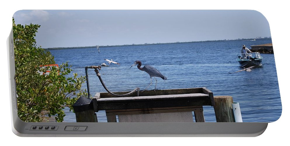 Need A Drink Portable Battery Charger featuring the photograph Blue Heron by Robert Floyd
