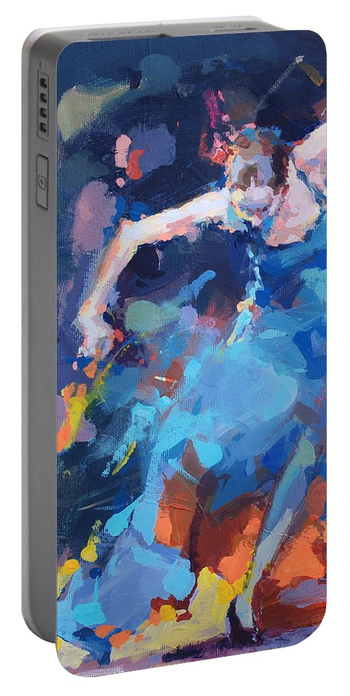 Dancers Portable Battery Charger featuring the painting Blue Hurricane by Renata Domagalska