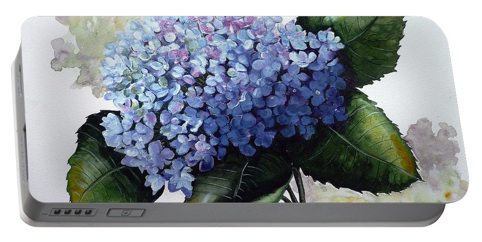 Floral Paintings  Flower Paintings Blue Paintings Botanical Paintings Blue Hydrangea Paintings Greeting Card Paintings Canvas Prints Paintings Poster Art Prints Paintings Bloom Painting Portable Battery Charger featuring the painting Blue Hydrangea by Karin Dawn Kelshall- Best