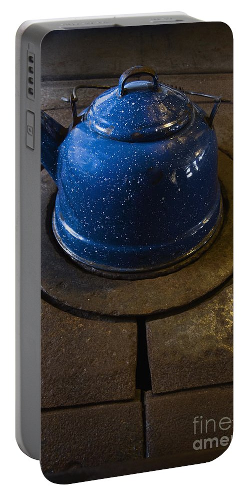 Kettle Portable Battery Charger featuring the photograph Blue Kettle by Margie Hurwich