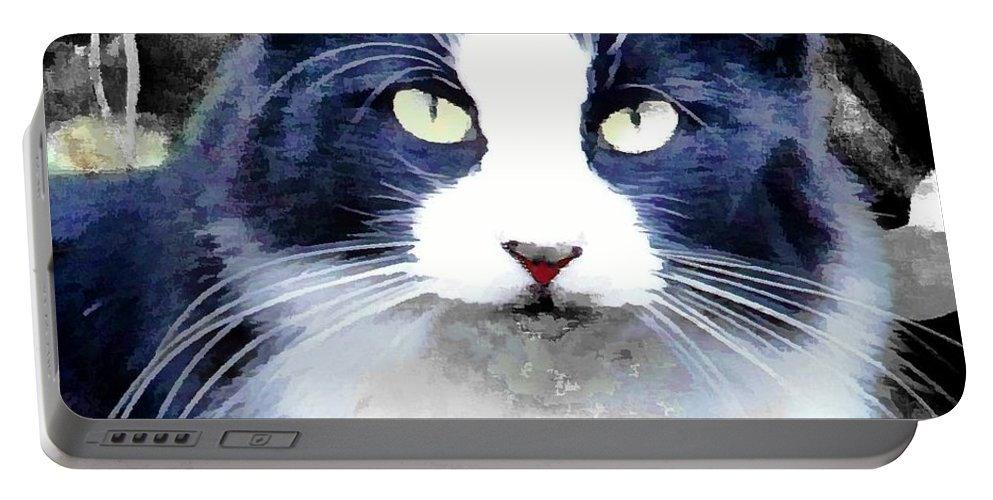 Cat Black White Kitty Portable Battery Charger featuring the photograph Blue Kitty Two by Alice Gipson