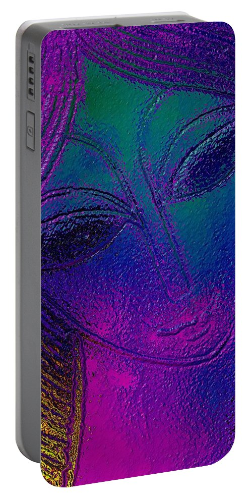 Blue Lady Portable Battery Charger featuring the mixed media Blue Lady by Maciek Froncisz