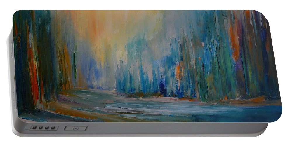 Landscape Portable Battery Charger featuring the painting Blue Lake by Pusita Gibbs