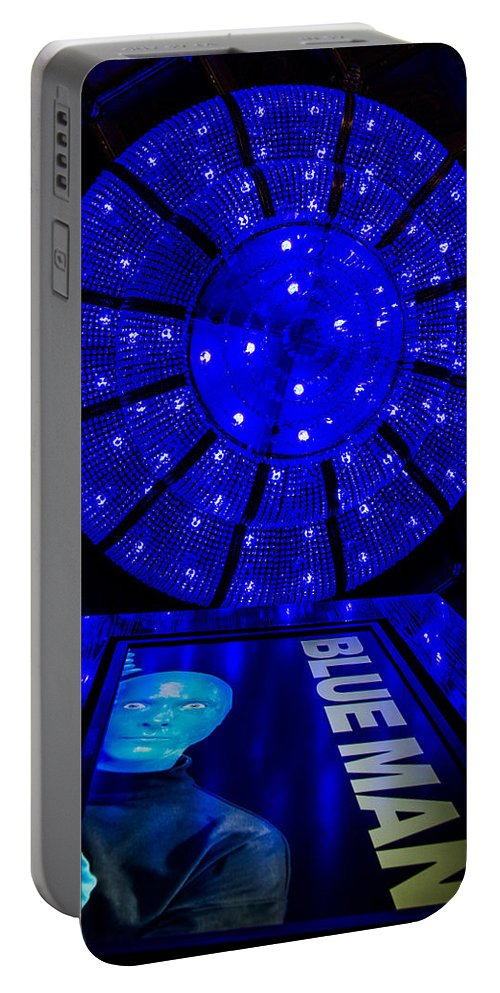 Nevada Portable Battery Charger featuring the photograph Blue Man Group Chandelier by Angus Hooper Iii