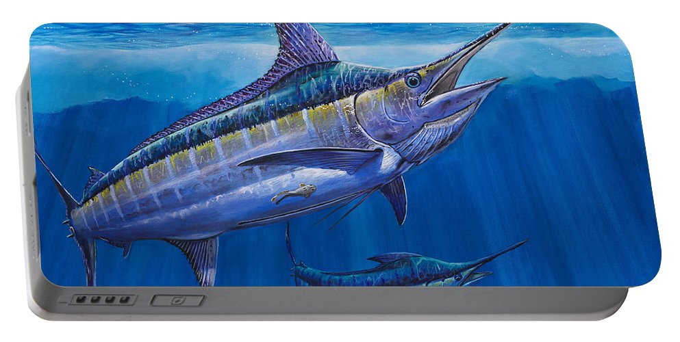 Blue Marlin Portable Battery Charger featuring the painting Blue Marlin Bite Off001 by Carey Chen