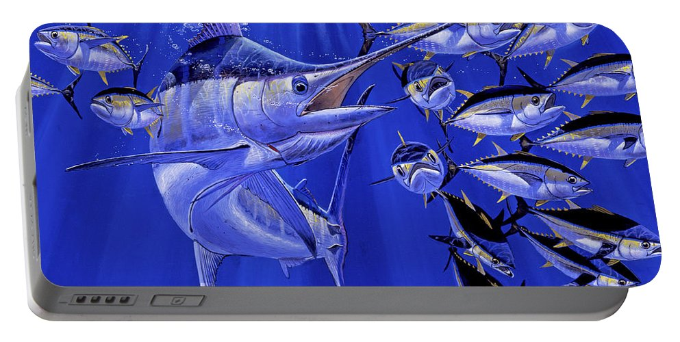 Blue Marlin Portable Battery Charger featuring the painting Blue Marlin Round Up Off0031 by Carey Chen