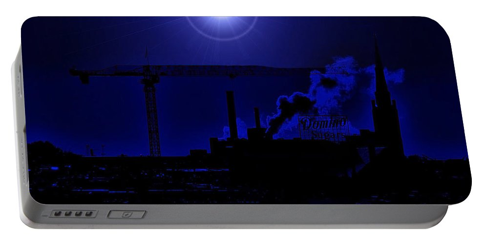 Moon Portable Battery Charger featuring the photograph Blue Moon Over Baltimore by Robert Geary