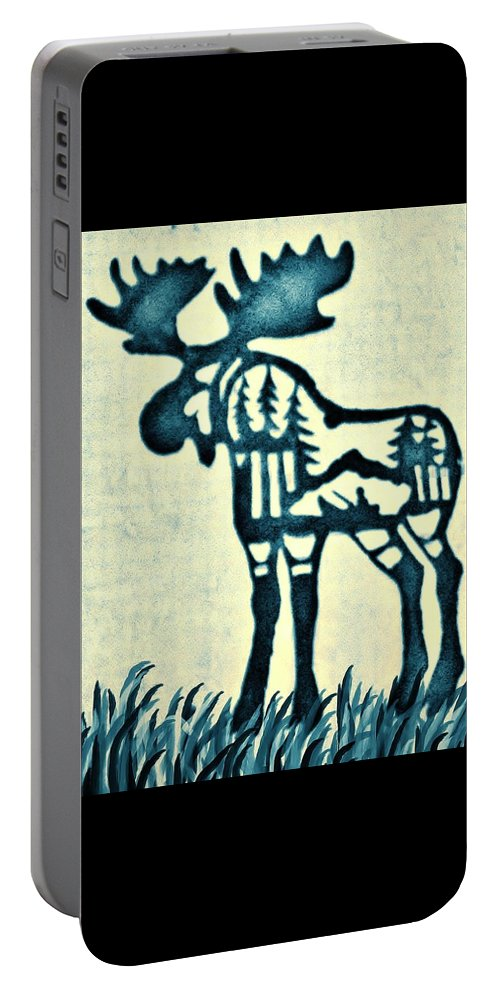 Moose Portable Battery Charger featuring the pyrography Blue Moose by Larry Campbell
