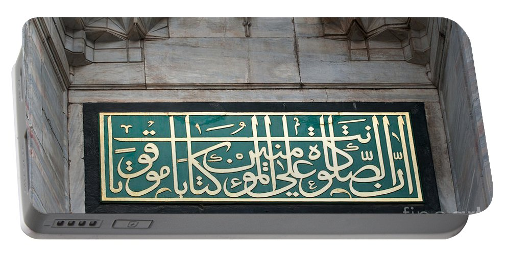 Istanbul Portable Battery Charger featuring the photograph Blue Mosque Calligraphy by Rick Piper Photography
