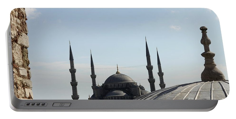 Sultan Ahmet Mosque Portable Battery Charger featuring the photograph Blue Mosque Dome Behind Hagia Sophia Dome by Christiane Schulze Art And Photography