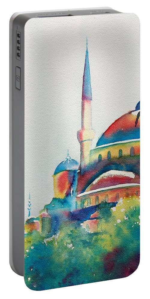 Blue Mosque Portable Battery Charger featuring the painting Blue Mosque Sun Kissed Domes by Carlin Blahnik CarlinArtWatercolor