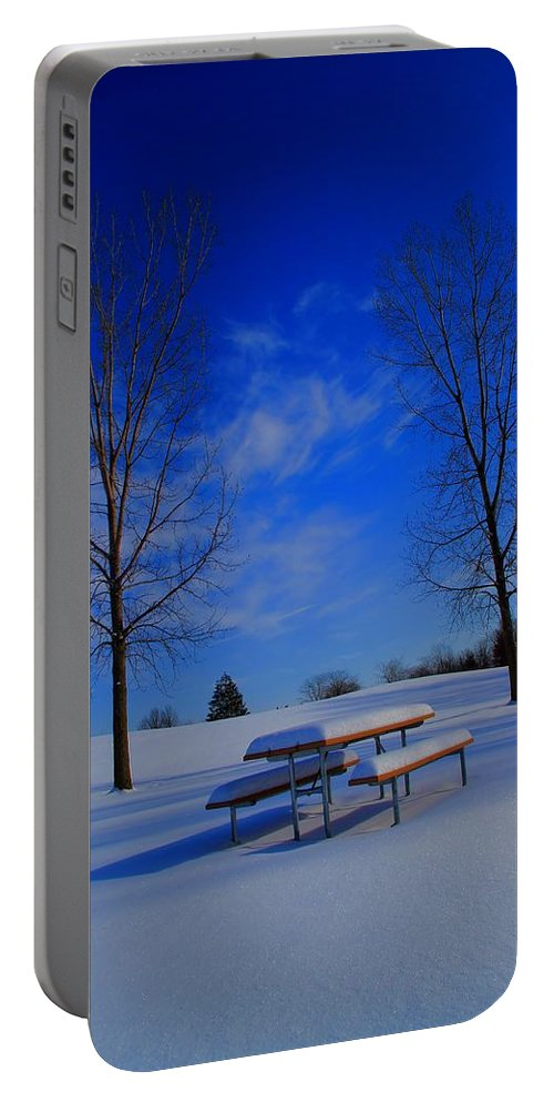 Blue On A Snowy Day Portable Battery Charger featuring the photograph Blue On A Snowy Day by Dan Sproul