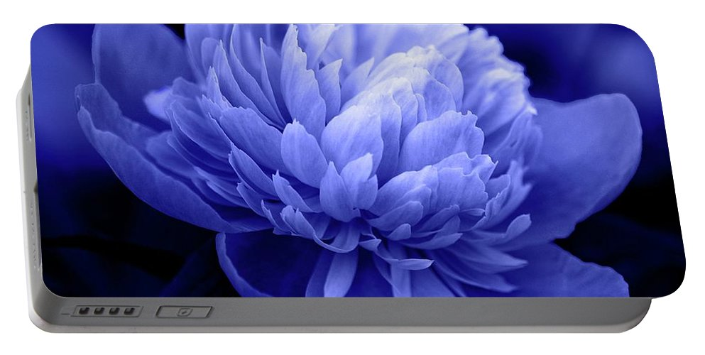 Flowers Portable Battery Charger featuring the photograph Blue Peony by Sandy Keeton