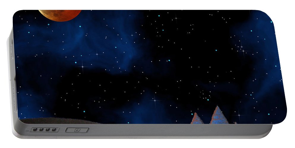 Fantasy Art Paintings Portable Battery Charger featuring the digital art Blue Pyramids With Orange Moon by Mayhem Mediums