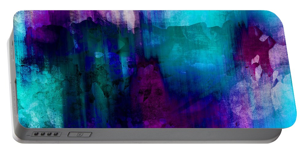Abstract Portable Battery Charger featuring the painting Blue Rain Abstract Art  by Ann Powell