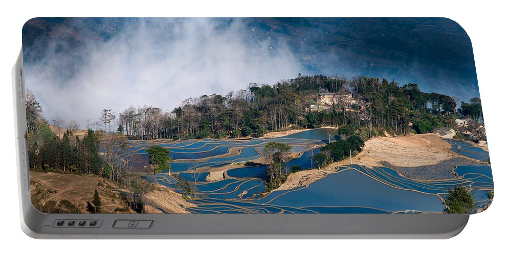 Agriculture Portable Battery Charger featuring the photograph Blue Rice Terrace by Kim Pin Tan