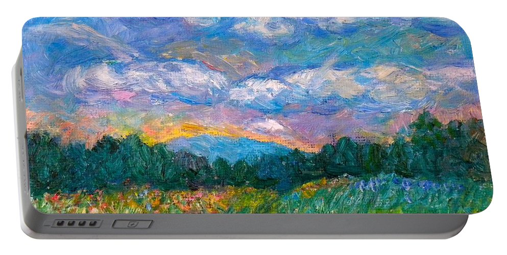 Landscape Portable Battery Charger featuring the painting Blue Ridge Wildflowers by Kendall Kessler