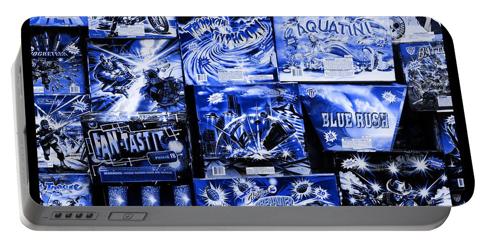 Fireworks Portable Battery Charger featuring the photograph Blue Rush by John Stephens