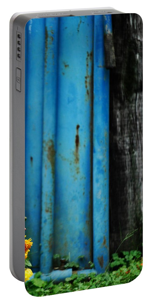 Blue Portable Battery Charger featuring the photograph Blue Rusty Farm Gate by Chastity Hoff