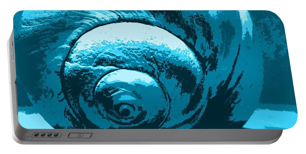 Blue Portable Battery Charger featuring the photograph Blue Shell - Sea - Ocean by Susan Carella