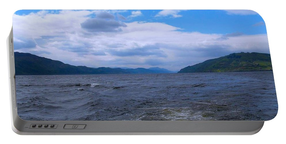 Loch Ness Portable Battery Charger featuring the photograph Blue Skies At Loch Ness by Joan-Violet Stretch