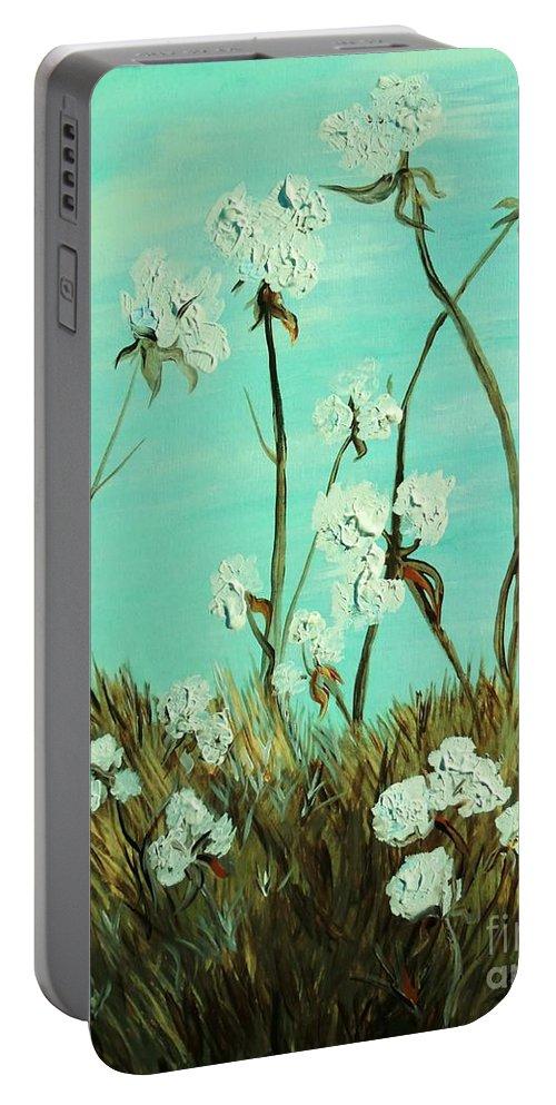 Blue Portable Battery Charger featuring the painting Blue Skies Over Cotton by Eloise Schneider Mote