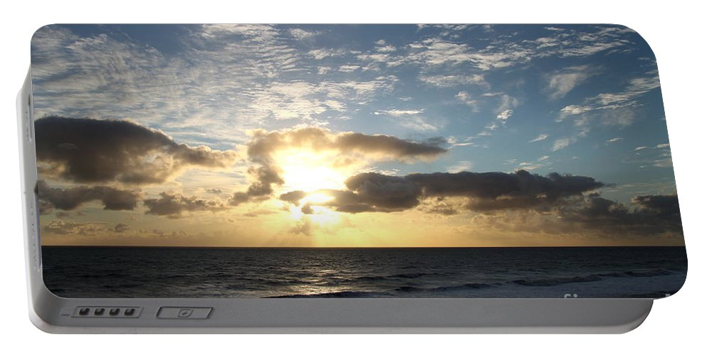 Sunrise Portable Battery Charger featuring the photograph Blue Sky Sunrise by Christiane Schulze Art And Photography