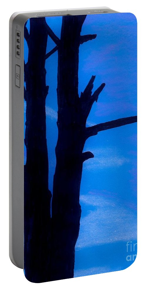 Sunset Portable Battery Charger featuring the drawing Blue Sky Tree by D Hackett