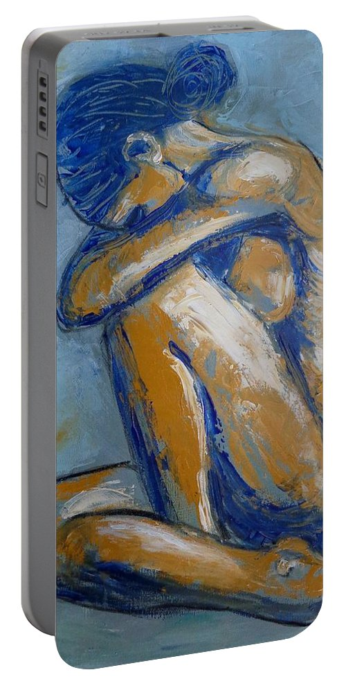 Blue Soul Portable Battery Charger featuring the painting Blue Soul - Female Nude by Carmen Tyrrell