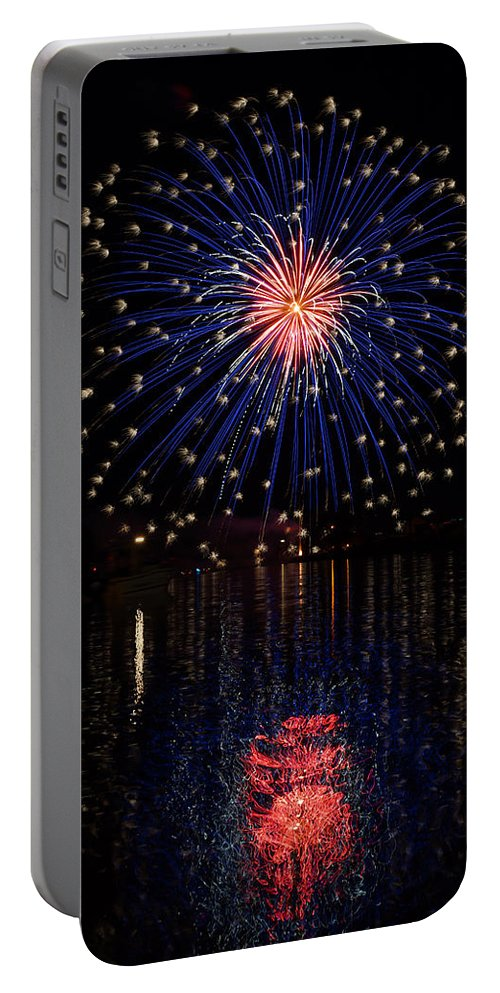 Fireworks Portable Battery Charger featuring the photograph Blue Spectacular by Bill Pevlor