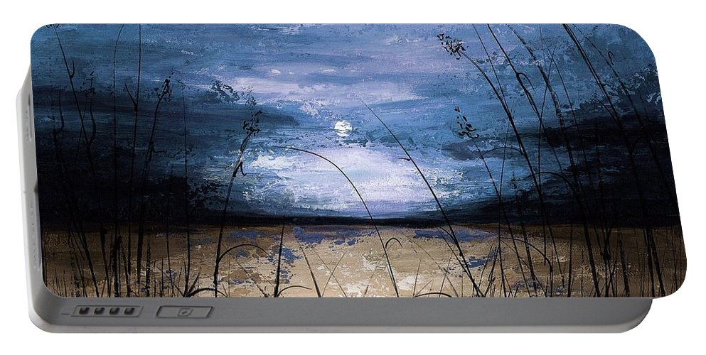 Art Portable Battery Charger featuring the painting Blue Sunset by Voros Edit