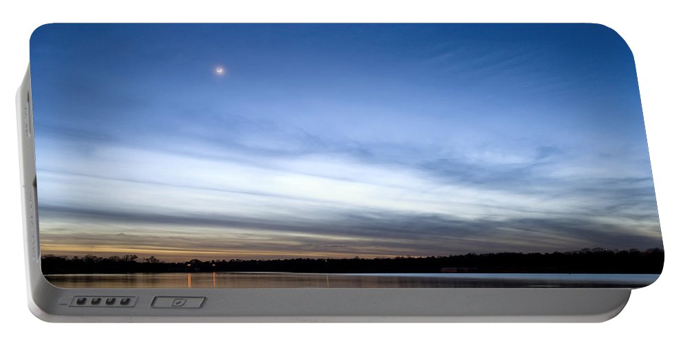Sunset Portable Battery Charger featuring the photograph Grapevine Lake Blue Sunset by Rospotte Photography