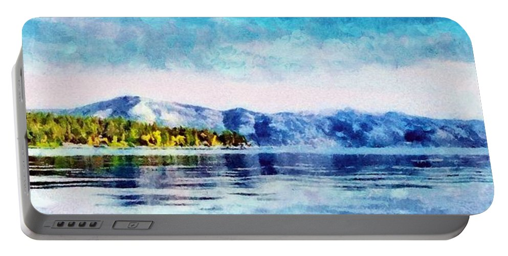 California Portable Battery Charger featuring the painting Blue Tahoe by Jeffrey Kolker