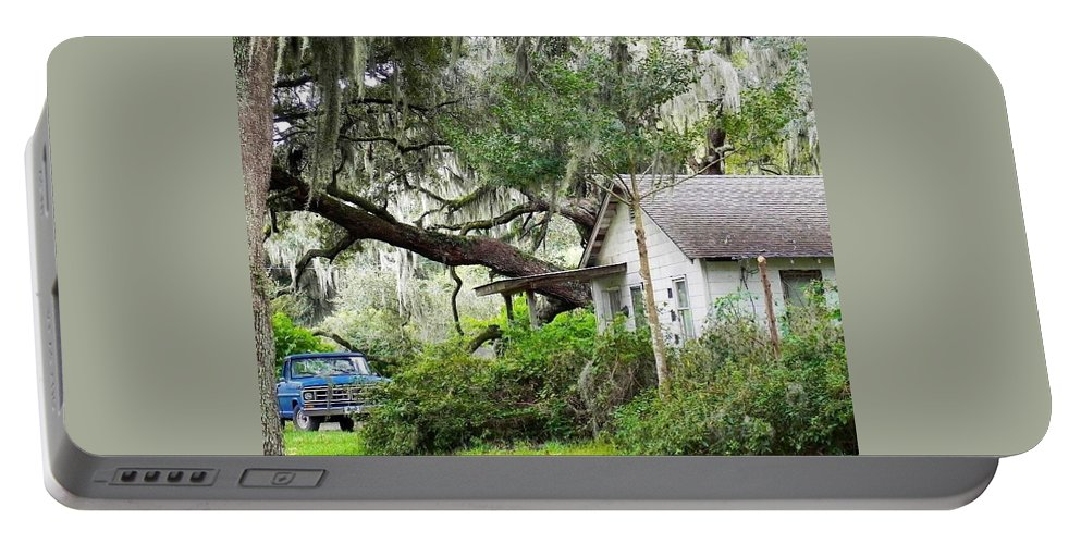 Deep South Portable Battery Charger featuring the photograph Blue Truck And Moss by Patricia Greer
