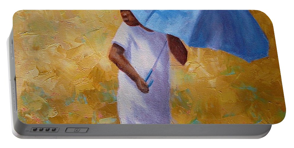 Child Portable Battery Charger featuring the painting Blue Umbrella by Yvonne Ankerman