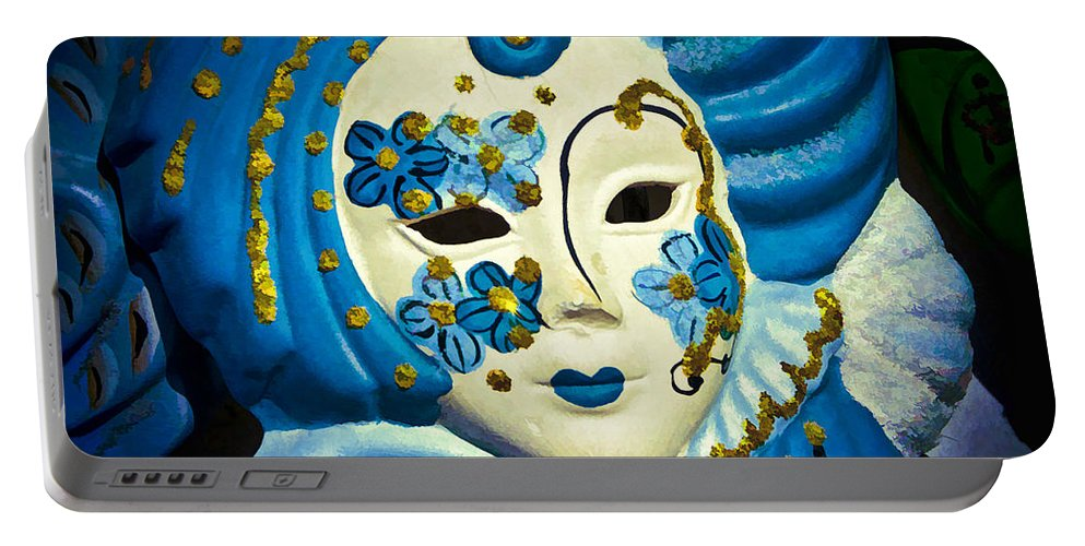 Carnival Portable Battery Charger featuring the photograph Blue Venetian Mask by Jon Berghoff