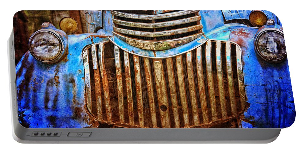 Portable Battery Charger featuring the photograph Blue Vintage Car by Annette Coady