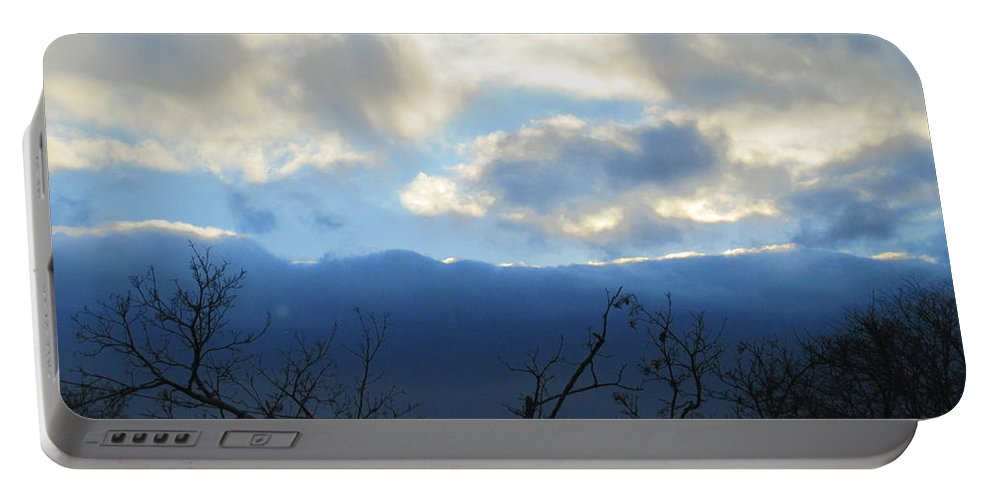 Sky Portable Battery Charger featuring the photograph Blue Wall Clouds 4 by Tara Shalton