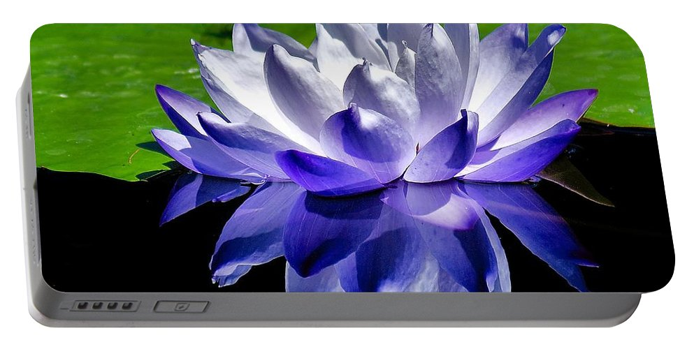 Aquatic Portable Battery Charger featuring the photograph Blue Water Lily Reflection by Nick Zelinsky
