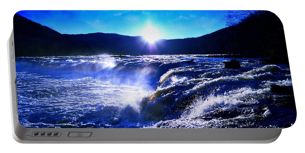 Waterfall Portable Battery Charger featuring the photograph Blue Waterfall by Lj Lambert