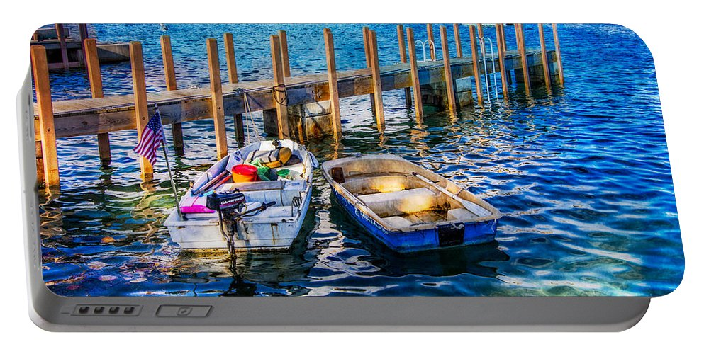 Boats Portable Battery Charger featuring the photograph Blue Waters by Debra and Dave Vanderlaan