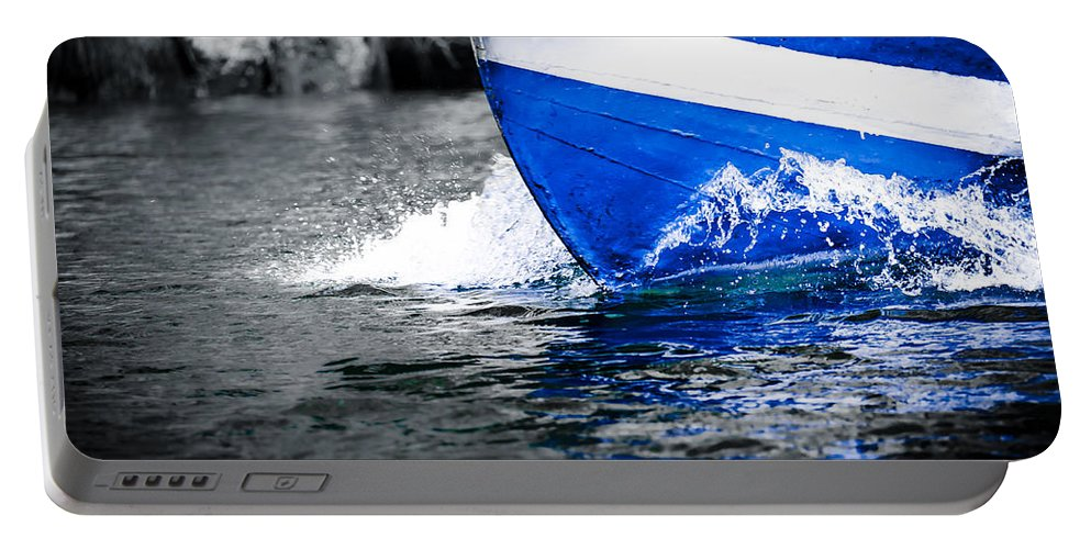 Abstract Portable Battery Charger featuring the photograph Blue Waters by Sotiris Filippou