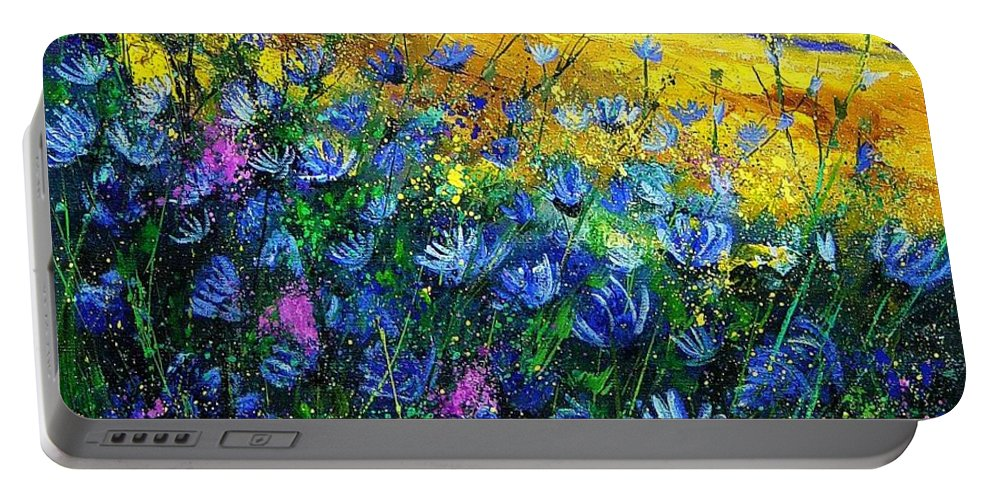 Flowers Portable Battery Charger featuring the painting Blue Wild Chicorees by Pol Ledent