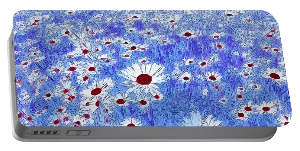 Floral Abstract Portable Battery Charger featuring the mixed media Blue With White Daisies by Georgiana Romanovna